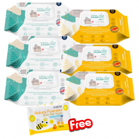 KMOM Organic Premium Baby First Wet Wipes With Cap (Value) 100 sheet x 6pack (FREE Kmom Wipes 10s)