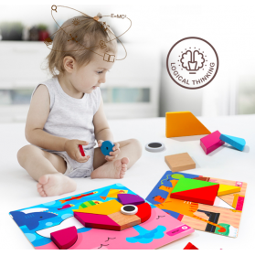 Joan Miro Geometric Blocks Children Wooden Tangram Puzzle