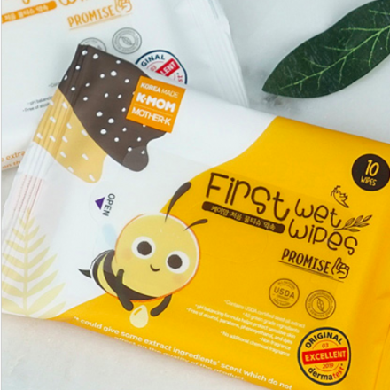 KMOM Organic Baby First Wet Wipes Promise (Pocket size 10 Sheets/pack)