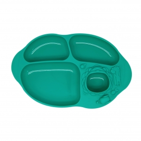 Marcus & Marcus Yummy Dips Suction Silicone Divided Plate - Green