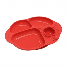 Marcus & Marcus Yummy Dips Suction Silicone Divided Plate - Red