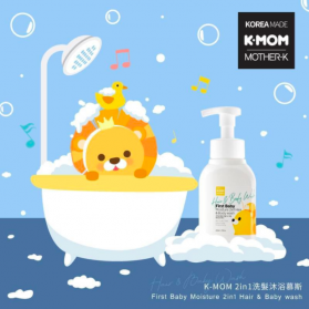 K-MOM (MOTHER-K) First Baby Moisture 2in1 Hair & Body Wash Foam Texture (290ml)