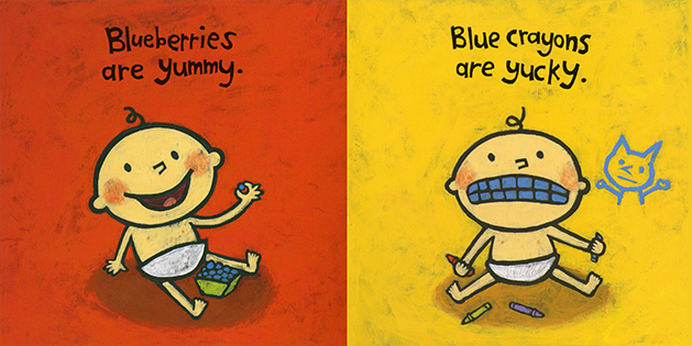 Leslie Patricelli's spirited board book, YUMMY YUCKY, baby learn from opposite