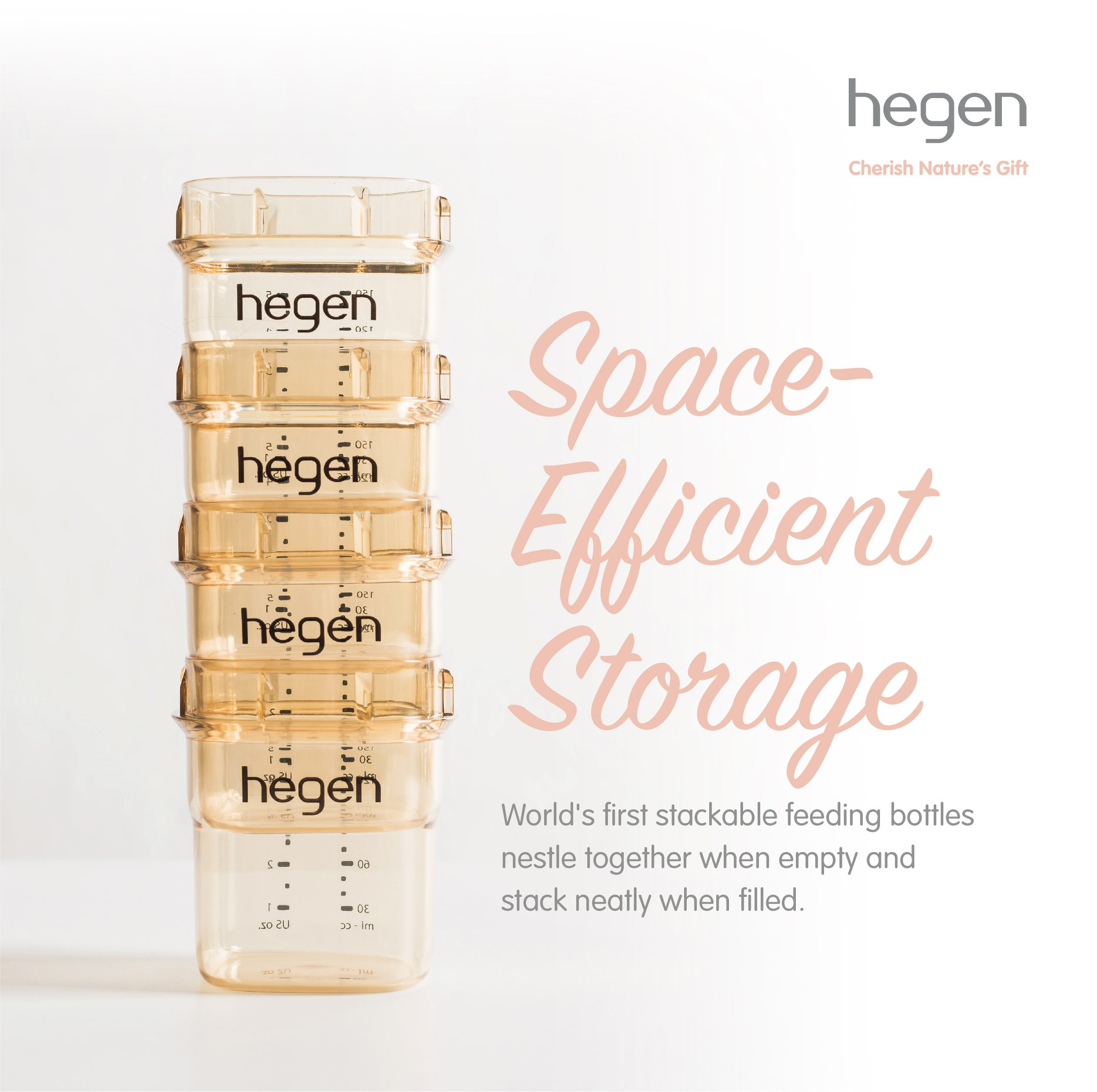 hegen wide mouth square design bottle easy to storage and stack
