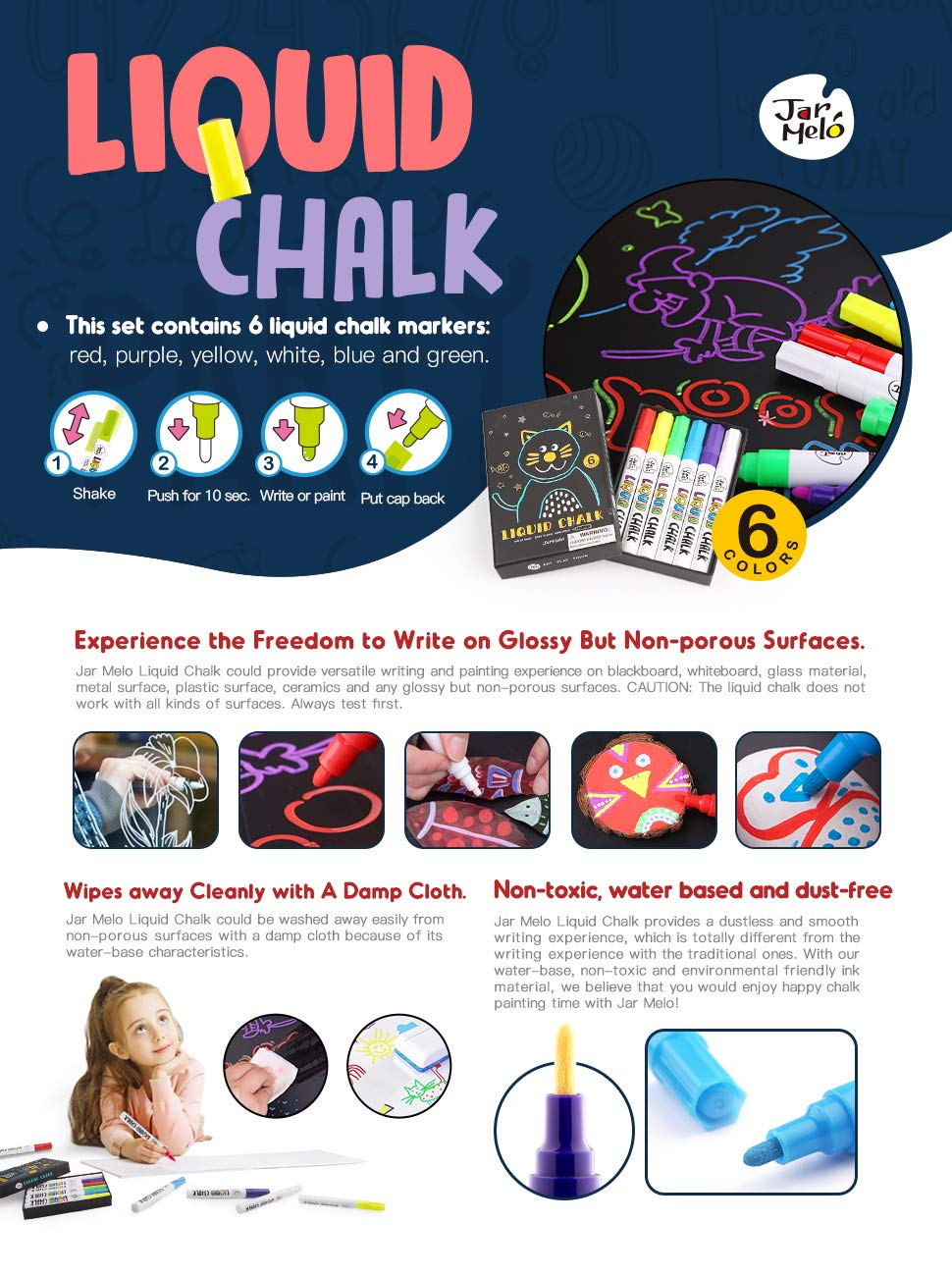 Non-Toxic Dustless Erasable Washable; For Chalkboard, Blackboard, Glass, Windows and Easter Eggs; Chalk Pens; School Chalk