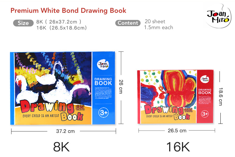 Joan Miro Finger Paint Paper Pad Watercolor Drawing Book 16K/8K 20 Sheets 儿童涂鸦画纸