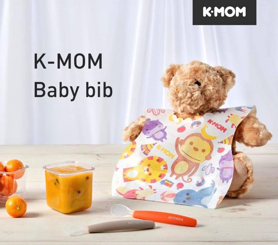 k-mom mother-k baby disposable bib with catcher pocket 宝宝一次性即用即丢吃饭围兜
