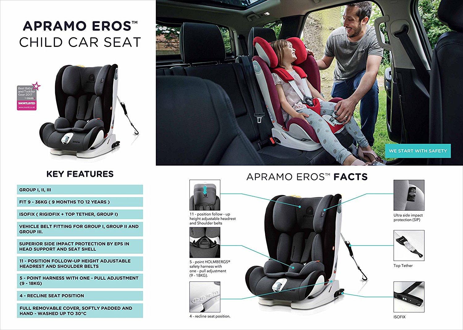 apromo forward-facing car seat for growing child 9 month to 12 year old