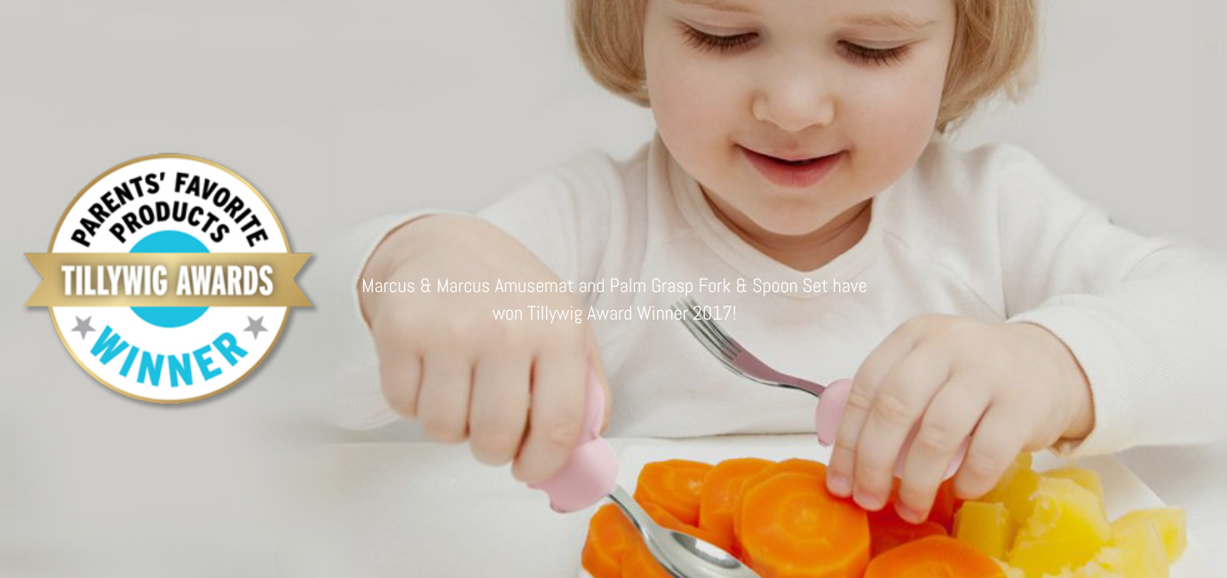 marcus and marcus palm grasp baby spoon and fork set