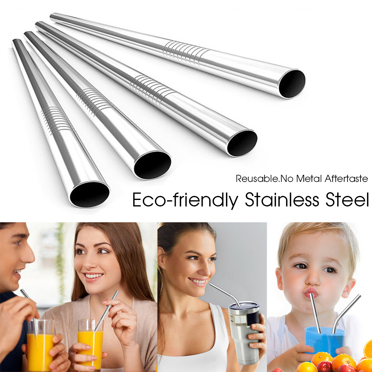 relax reusable stainless steel straw and brush set 循环使用不锈钢吸管及吸管刷