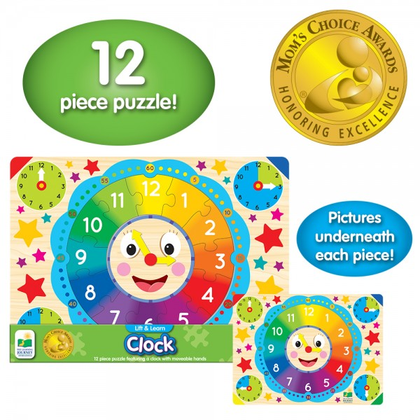 teach and learn clock with fun jigsaw puzzle
