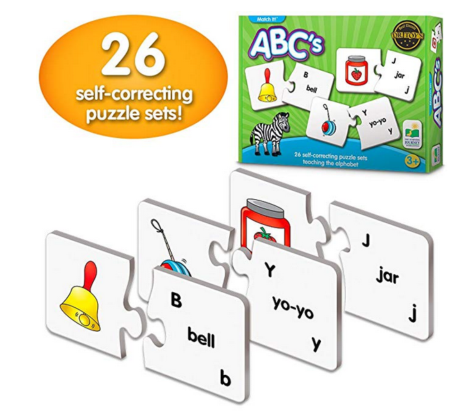 26 self-correcting puzzle sets match it teaching ABC the alphable