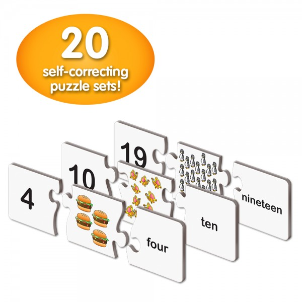 20 self-correcting puzzle sets teaching counting skills