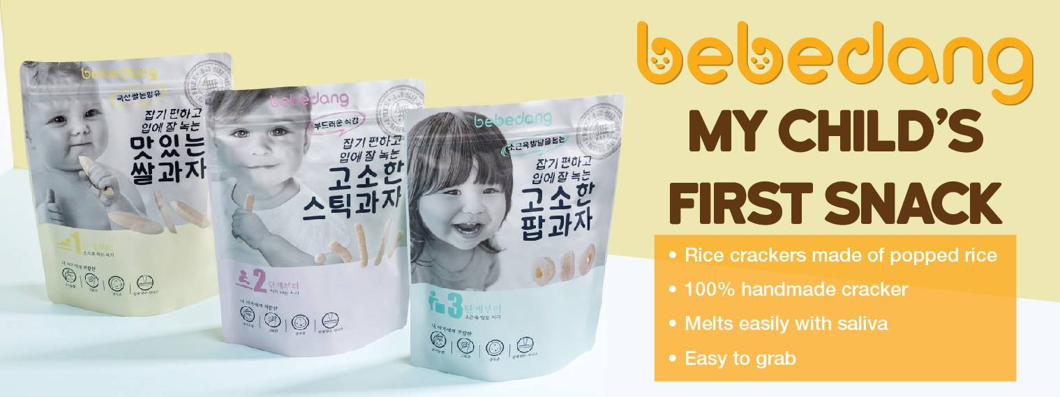 bebedang korea organic natural baby first snack rice puff crackers