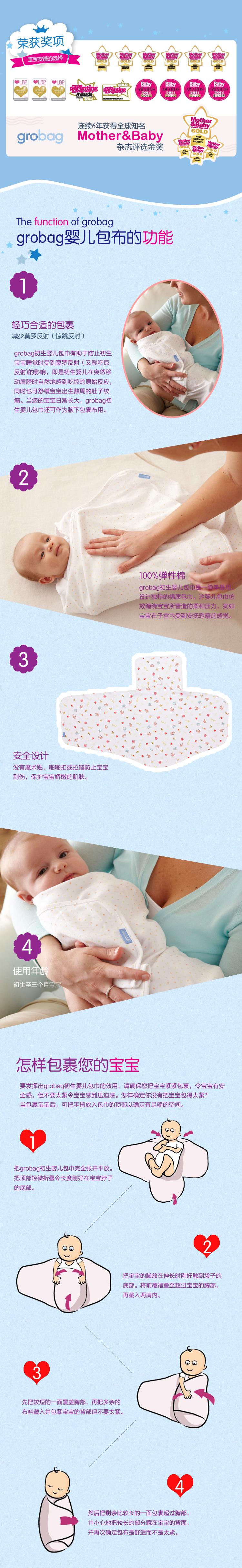 grobag newborn swaddler 新生儿初生宝宝睡袋防惊包巾