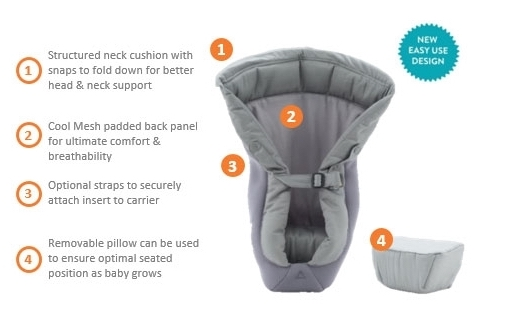Ergobaby Original Collection Infant Insert For Baby Carrier Grey