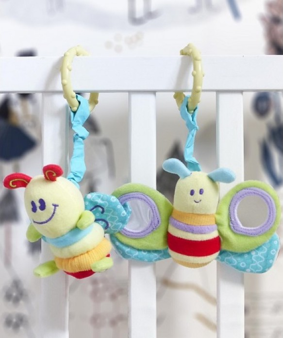 LITTLE BIRD TOLD ME Rattle & Squeak Set : Billowy Butterfly & Softy Snail