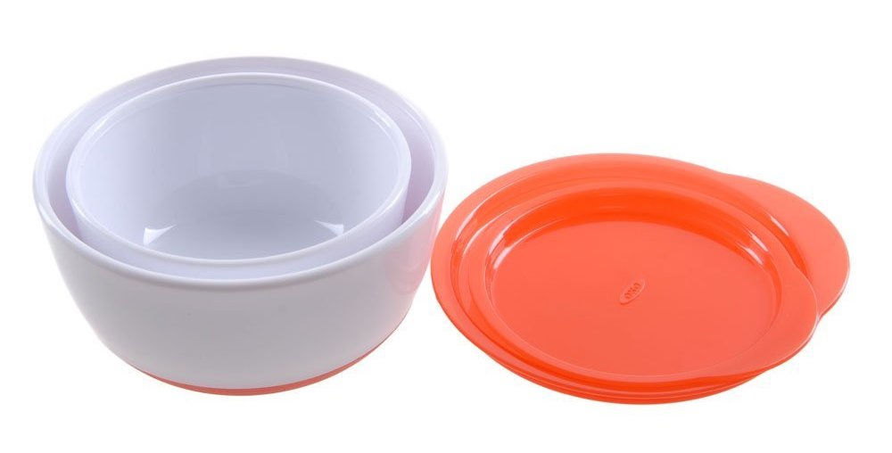 oxo tot kids small and large bowl with lid 宝宝带盖餐碗2只装