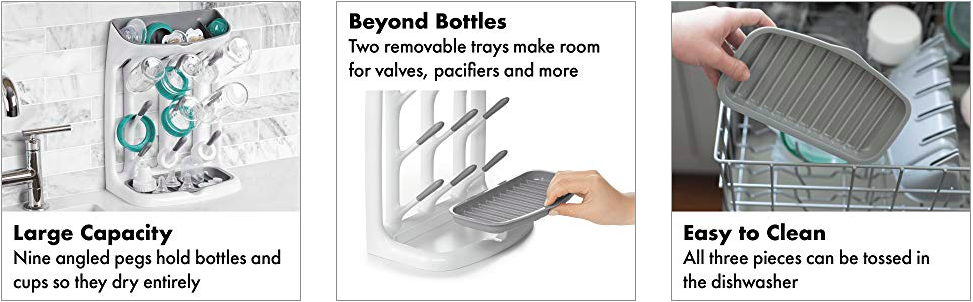 oxo tot space saving drying rack holds bottles, cups, teats, small parts