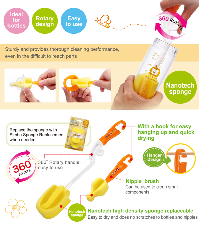 simba rotate sponge bottle brush 海绵奶瓶刷