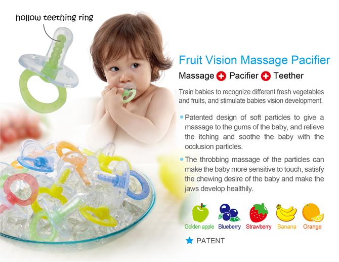 Simba Fruit Vision Massage Pacifier Green - Double Flat Shape (6m+)