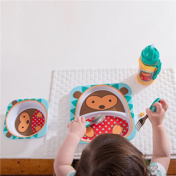 skip hop zoo melamine kids bowl and plate set